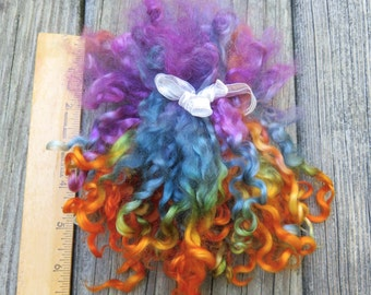 Teeswater Locks, Long, Dyed, Tailspinning, 1 ounce, Doll Hair, Spin, Felt, Fleece, Sunset