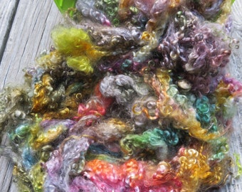 Dyed Teeswater Lamb Fleece, 2 Ounces, Spin, Felt, Rainbow, Doll Hair, Psycho Mouse