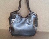 Brown leather tote bag with flowers - carryall shoulder handbag- vintage style handmade totes - amelia
