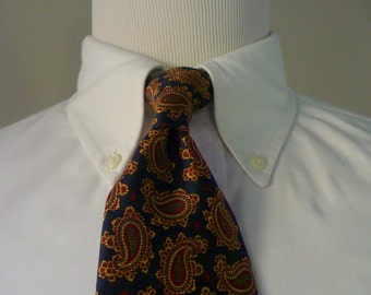 GORGEOUS Vintage Brooks Brothers MAKERS All Silk Multicolored Paisleys on Navy Blue Trad / Ivy League Neck Tie.  Made in USA.