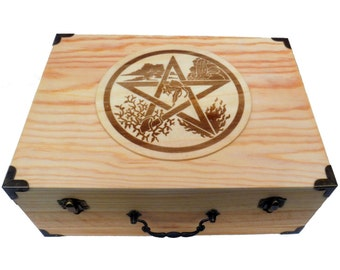 XL Handmade wood burned box with hinged lid, Brass accents /  Pentacle Fairy Wiccan Elements