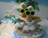 Reserved Custom Order~Starfish on a Beach Wedding Cake Topper~Palm Trees Wedding Cake Topper~Seashell Cake Topper!