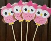 Sweet Pink Owl Centerpiece Sticks, Pink Owl Birthday, Centerpiece Sticks, Pink Owl Baby Shower,Pink Owl Party Decoration-Set of 4