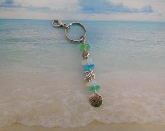 Seafoam sea glass seashell sand dollar turtle beaded key chain purse  mirror charm
