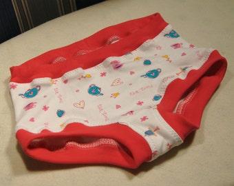 Tea Party organic boyshort underwear, girls hipster underwear, tea time panties, sizes 1T through girls 10