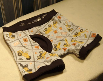 Heavy trucks boys boxer briefs, construction equipment underwear grey, backhoes, diggers, and bullldozers, sizes 1T through boys 10