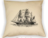 Vintage Ship Pillow Cover, Sailing Ship Illustration Pillow, Nautical Pillow, Ship Line drawing Pillow,