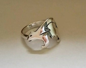 Sterling silver jewelry bear ring aztec ring hammered ring statement rings animal sterling silver WickedWired