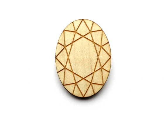Oval diamond brooch - fake stone pin - trompe l'œil jewelry - bling accessory - lasercut maple wood - graphic kitsch jewellery