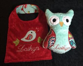 Red and Aqua Birdie Bib and Matching Owl Set
