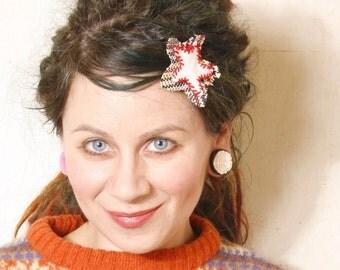 Star hair clip Leather hair clip Gift for her White hair clip Holiday hair Kids hair clip Plaid hair accessory
