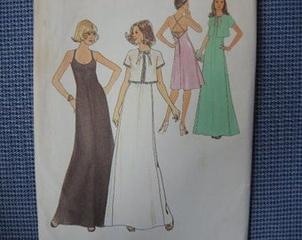 vintage 1970s simplicity sewing pattern 7433 misses halter dress in two lengths and unlined jacket size 10