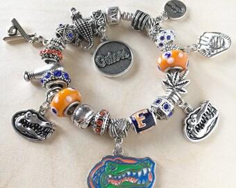 Authentic 925 PANDORA Bracelet with European Charms Florida Gators Baseball theme