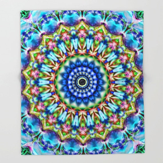 Blankets, Soothing Blues Mandala, Throw Blankets, Photography,Abstract Art, Housewarming Gift, Bedspread, Bedding, Sofa Throw, Home Deocr,