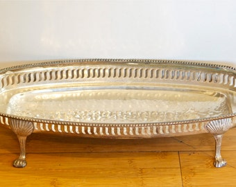 Vintage silver plate tray with handles and feet…gallery tray…deep tray…oval bowl...centerpiece.