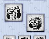 "Collage sheet 1 inch square ""Black & White Portraits of Owls"" (1BWOS22) - 48 images for jewelry sconces, party decors, magnets, gift tags..."