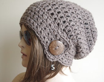 BROWN MELANGE Womens hat - chunky knit Slouchy dark gray  Beanie Slouch Hat Fall Winter Accessories Beanie Autumn Christmas Fashion
