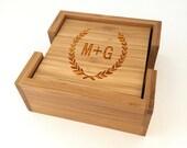 Personalized Wedding Coasters, Wood Engraved Coasters, Custom Bamboo Coasters, Engagement Gift Ideas
