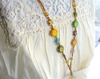 Flower Lanyard Necklace, Lanyard with id holder, Brown Bead Assortment Glass Bead Lanyard, Nametag, Keychain, Brown Necklace, Tigers Eye