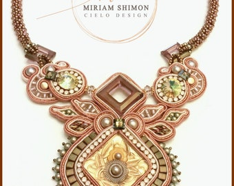 Antique rose, gold and olive Soutache necklace