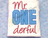 Mr. One derful Birthday Shirt, 1st Birthday Shirt, Boys Birthday T-Shirt or Bodysuit, Boys Tops