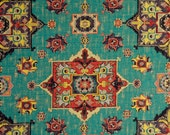 Teal Red Woven Tapestry Upholstery Fabric - Textured Coral Teal Medallion Fabric for Furniture - Modern Red Yellow Ikat Throw Pillows