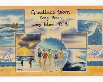 Greetings from Long Beach Long Island NY vintage linen pc