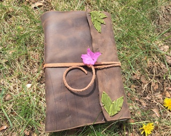 Large Leather Journal with Leaf Detail