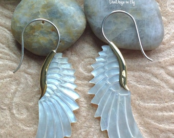 "Tribal Hanging Earrings, ""Angelique"" Natural, Mother of Pearl, Brass Tops, Sterling Silver Posts, Handcrafted"