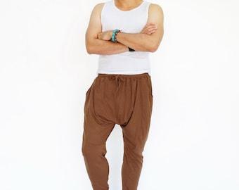 NO.192 Brown Cotton-Blend Jersey Harem Pants, Casual Drop-Crotch Trousers, Slouched Jogger Pants, Unisex Pants