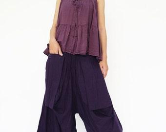 NO.185 Dark Violet Cotton Jersey Trendy Harem Pants, Capri Drop Crotch Trousers, Unisex Pants