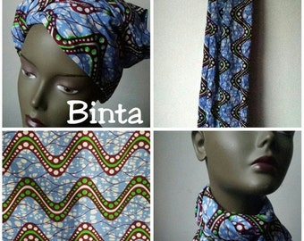 BANK HOLIDAY SALE Binta African Ankara print tribal chic neck head wrap scarf - blue green waves - Summer 2016 - New
