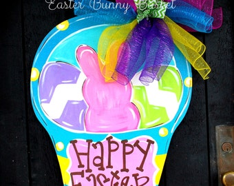 Easter Wreath, Easter Decorations, Easter Basket Door Hanger, Easter Deco Mesh Wreath