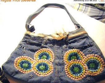 25% Off Storewide Sale Super Cute Jean Shoulder Bag Purse With Embroidered Sequins and Designs Lined
