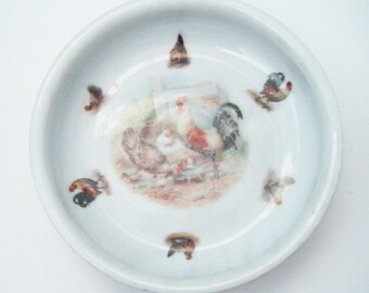 Antique Child's Baby Dish Bowl With Wonderful Chickens Chicks and Roosters In Center As Well As Surrounding The Bowl
