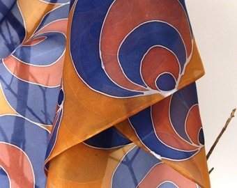 Elegant handpainted silk scarf. Silk shawl . gift for her. 160x45cm. brown and blue.