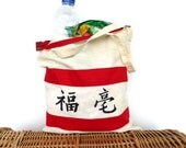 Shopping bag zip closing, Market cotton tote, eco bag, hand painted tote asia