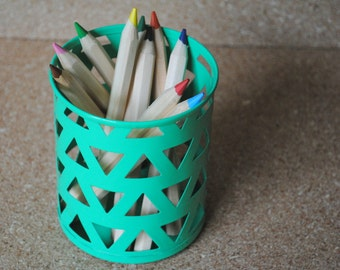 Green and Triangles Metal Pencil Cup Pencil Holder