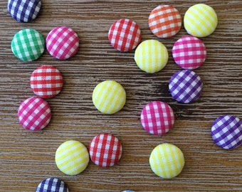 Colorful Mixed Lot of Gingham Fabric Cabochons 20 pcs Flat Back, Round Front