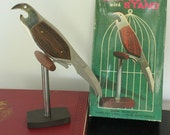 Mid Century Barware, Bird on a Perch Bar Set Stainless Steel and Rosewood Can - Bottle Opener, Bar Knife & Cork Screw - Made in Japan