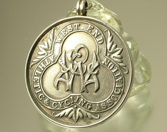 Antique Art Deco J Daffiern & Sons, sterling silver 925 watch chain fob pendant medal, Birmingham hallmark 1922 - West End Cycling