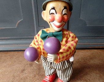 Vintage Clown Wind Up Toy, Tin, Circus, Russ, Collectible