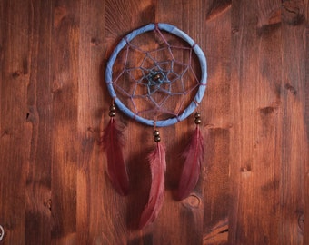 Small Dream Catcher - Brown Woods - With Natural Wool Yarn and Brown Feathers - Boho Home Decor, Hippie Nursery Mobile