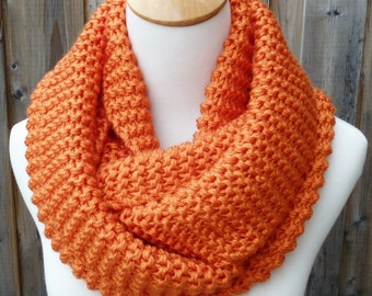 Tangerine Infinity Scarf - Burnt Orange Infinity Scarf - Orange Infinity Scarf - Chunky Knit Scarf - Circle Scarf - Ready to Ship