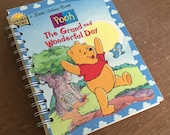 Vintage Winnie the Pooh The Grand and Wonderful Day Little Golden Book Recycled Journal Notebook