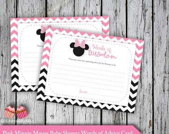 Minnie Mouse Pink Baby Shower Words of Advice Cards