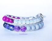 Grey Purple Bracelet two wrap leather bracelet agate cat's eye acaï beads