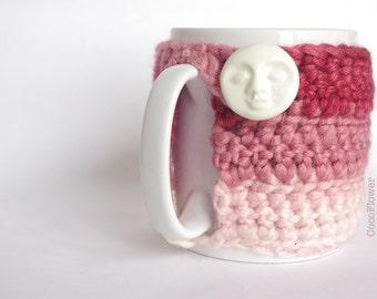 Cozy Mug Coffee Mug Warmer gradient Pink color white Moon Artisanal Ceramic button Sweater Tea Sleeve Cover Crochet Wool Ooak