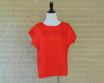 Vintage Blouse | 1980s | Tangerine Orange Over-sized Blouse | Small