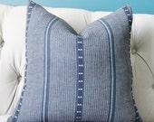 Zak and Fox Pillow Cover - Poncho in Tambo - Dark Blue Stripe Throw - Modern Graphic Designer Cushion